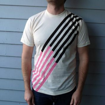 Black and Pink stripes Organic Tee by JessalinBeutler on Etsy