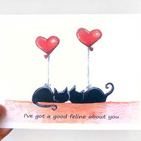 Funny Valentine Card, Black Cats Art, Red Heart Balloons, Valentine's Day Pun, Cat Silhouette