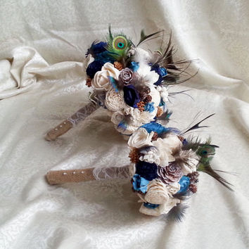 Bridesmaid toss cream brown dark blue turquoise rustic wedding real PEACOCK feathers BOUQUET Burlap Handle cotton lace pine cones cedar rose