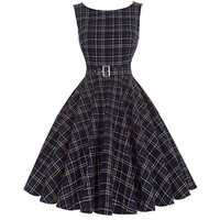 Womens Retro Vintage Style Navy Blue Plaid Pin-up Swing Rockabilly Dress Size S-XL