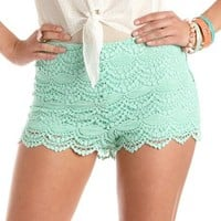HIGH WAISTED SCALLOPED LACE SHORT