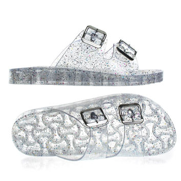 Amar01 ClearPvc By Wild Diva, Clear Lucite Jelly Slip On Sandal On Molded Footbed Platform w Glitter