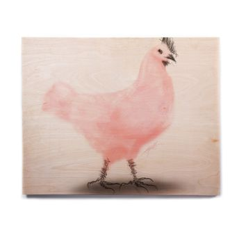 "Elena Ivan - Papadopoulou ""Chicken Proud"" Pink Black Animals Modern Watercolor Digital Birchwood Wall Art"