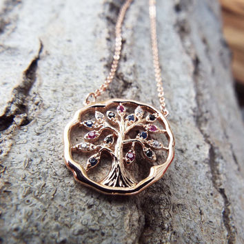 Tree of Life Pendant Rose Gold Protection Tree Handmade Necklace Gothic Dark Jewelry Symbol