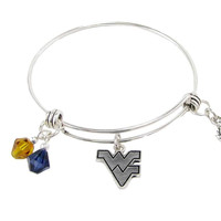 West Virginia Mountaineers NCAA Austrian Crystal Heart Logo Bracelet