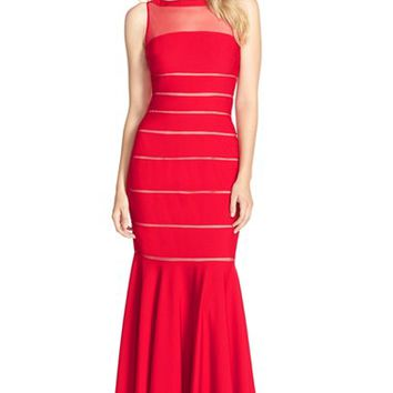 Women's JS Collections Banded Jersey Mermaid Gown,