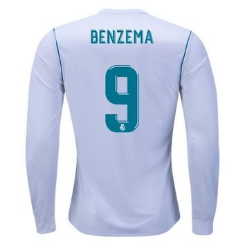 KUYOU Real Madrid 2017/18 Home Men Long Sleeve Soccer Jersey BENZEMA #9