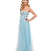 Aqua Tulle & Paisley Embellished Strapless Gown 2015 Prom Dresses
