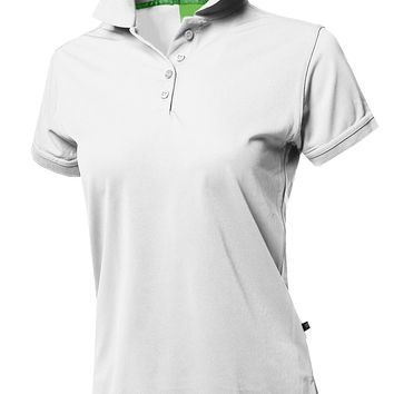 Awesome21 Women's Junior Size Breathable Button Placket Short Sleeves Polo Shirt