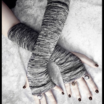 Gneiss Arm Warmers - Dark Charcoal Steel Grey White Striped Sweater Knit - Gothic Vampire Dark Bellydance Cycling Fall Running Emo Yoga Goth