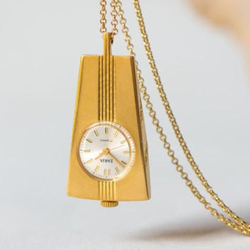 Rare watch pendant Dawn, elegant necklace gold plated, mechanical watch pendant from USSR, geometric pendant watch, 70s fashion jewelry