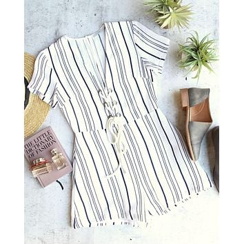 LUSH - morning talks stripe romper - off white