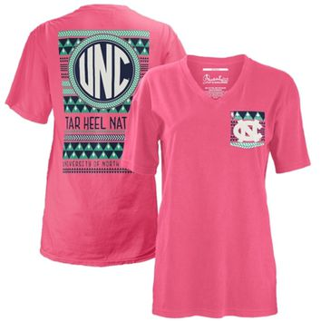 North Carolina Tar Heels Women's Cheyenne V-Neck T-Shirt - Coral