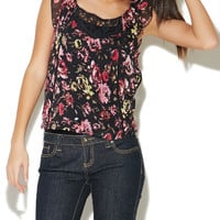 Rose Print Flutter Trim Top