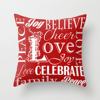 Red White Christmas Holiday Pattern Throw Pillow Cover. 16x16 pillow. 18x18 pillow. 20x20 pillow. Pillow Case. Typography Throw Pillow