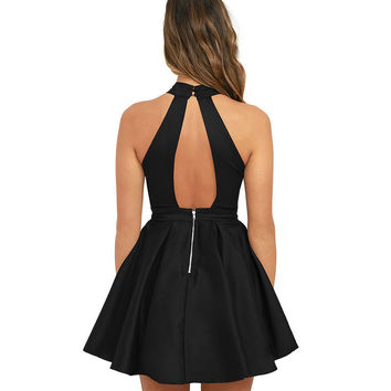 New Arrival Womens Cute Wedding Cocktail Sexy Nightclub Halter Neck Blackless A-Line Black Dress Short 2017