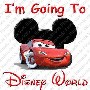 Disneys Cars I'm Going to Disney World Printable Digital Iron On Transfer Clip Art DIY Tshirts Instant Download
