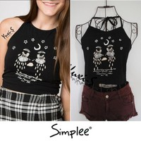 brandy melville spaghetti strap black tank tops/moon tears embroidery tank camisole/short halter crop top fitness vest SH017-in Camis from Women's Clothing & Accessories on Aliexpress.com | Alibaba Group