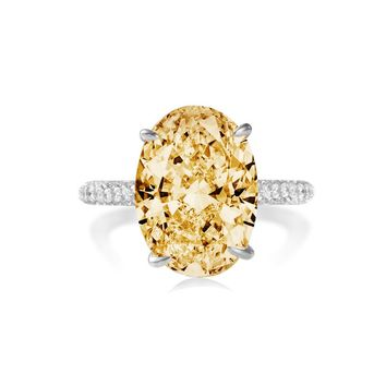 COLORFISH Solid 925 Sterling Silver 5ct Oval Solitaire Engagement Ring Women Wedding Jewelry Egg Shape Yellow Stone CZ Rings