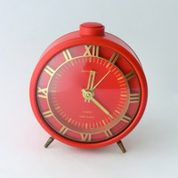 Vintage red alarm clock  made in Russia by ArtmaVintage on Etsy