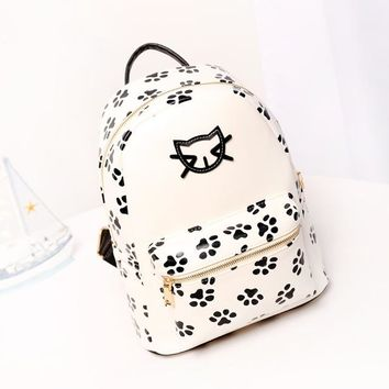 Casual Travel Backpack Junior Middle School Girl Students Book Bags with Cute Cat pattern