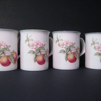 Coffee, Tea Mugs Fruit, Floral Pattern Made in England Set of 4 Porcelain Cups