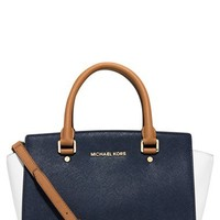 MICHAEL Michael Kors 'Medium Selma' Tricolor Leather Satchel | Nordstrom