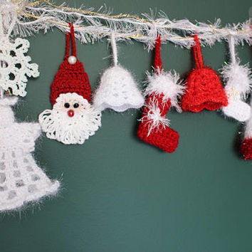 12 White Christmas Garland Crochet Angel Crocheted Snowflake Mini Stockings Ready To Ship