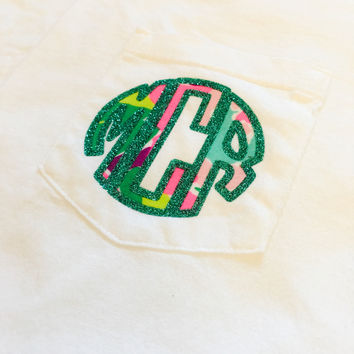 Comfort Colors Pocket Short Sleeve Glittered Monogram Lilly Pulitzer Top