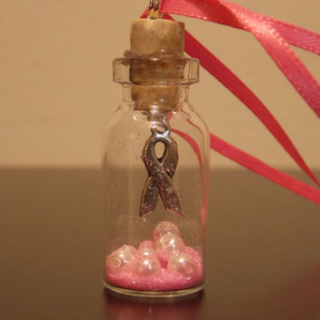 Breast Cancer Ribbon Fairy Jar Necklace