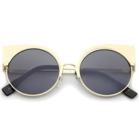 Women's Laser Cut Round Cat Eye Sunglasses A378