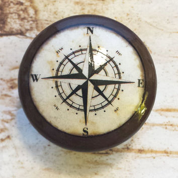 "Nautical Knob Drawer Pulls, Espresso Color, Handmade Antique Style Compass Cabinet Knobs, 1.5"" Beach Birch Dresser Knobs, Made To Order"