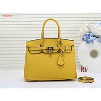 """Hermes"" ladies fashion simple casual top layer leather lychee pattern shoulder bag Yellow"