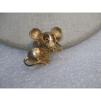 """Vintage Avon Mouse Brooch, with Glasses, Rhinestone Eyes, 1970's. Gold Tone, 1"""""""