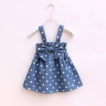 Fashion Baby Kids Girls Clothes Dresses Polka Blue Dot Bows Casual Cotton Party Dress