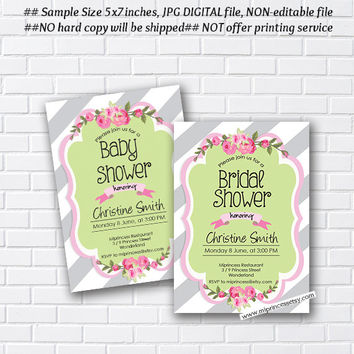 flower bridal shower or Baby Shower, pink floral invitation,  modern shabby chic party, Modern Invitation Card Design  - card 913