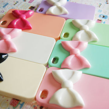 YOU CHOOSE Pastel Large Bowtie Candy Colors Iphone 4 4s Rainbow Designer Elegant Decoden Cell Phone Case