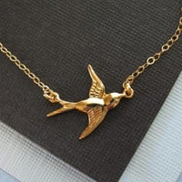 Gold Swallow Necklace, Bird Necklace, 14K GOLD FILLED, Gold Jewelry