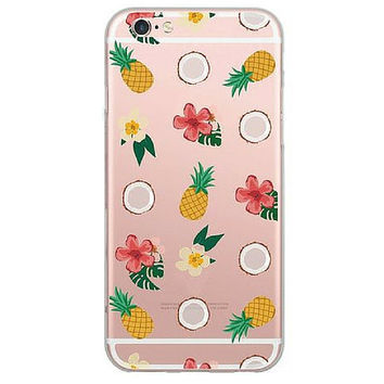Aloha Pink Pineapple & Coconut Soft Phone Cover For Apple iPhone 6, 6Plus