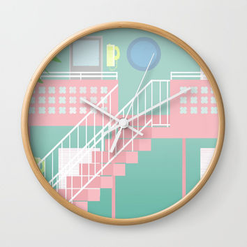 Motel Paradise Wall Clock by Claudia Duarte
