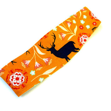 Blue Stag Reversible Headband - Yellow Deer Reversible Headband