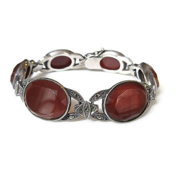 Art Deco Bracelet, Sterling Germany, Carnelian Gemstone, Marcasites, Sterling Silver, German Jewelry, Art Deco Jewelry, Antique Jewelry