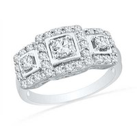 Lab-Created White Sapphire Square Frame Three Stone Ring in Sterling Silver