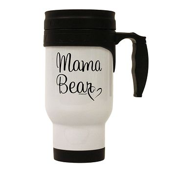 Mama Bear with Heart - Mom Design Stainless Steel 14oz Travel Mug by TooLoud
