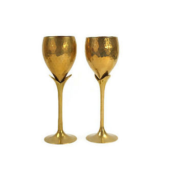 Hammered Brass Wine Goblets / SET of 2 / Tulip Stem / Brass Barware / c1970s