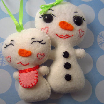 Snowman Girl Christmas Ornament - Snowman Ornament - Christmas Ornament