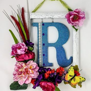 "Avery Design Front Door Floral Wreath, Weathered White with Blue Initial ""R"""