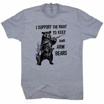 I Support The Right To Keep And Arm Bears T-Shirts - Men's Crew Neck Novelty Tee