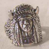 1 DELUXE INDIAN MEDICINE MAN NEW SILVER BIKER RING BR112R mens  fashion jewelry