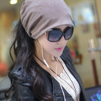Fashion Casual Design Plain Womens Beanie Hat Cool Snap Backs 4 Colours Neck Scarf Double Use For Girls Winter Ears Hat CP005